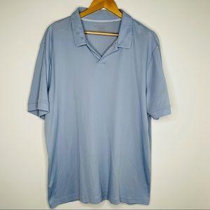 Perry Ellis Men's Open Neck Light Blue Golf Shirt